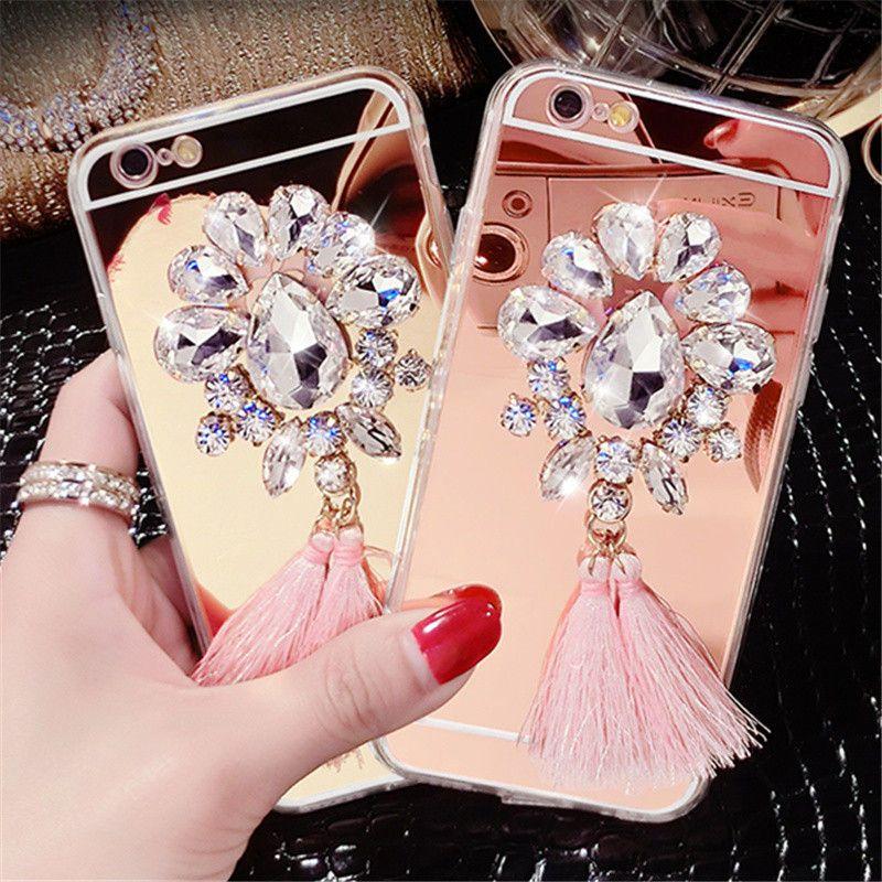 For iPhone 5 5S 6 6S 7 Plus Luxury Diamond Rhinestone Flower ...