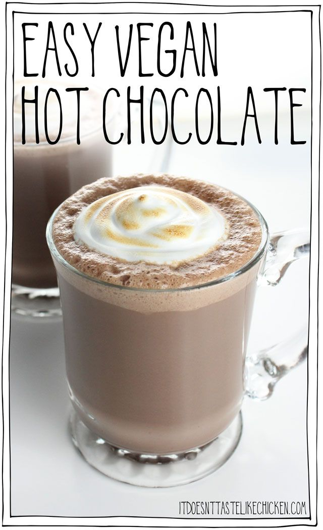 Easy Vegan Hot Chocolate (with toasted marshmallow fluff)!