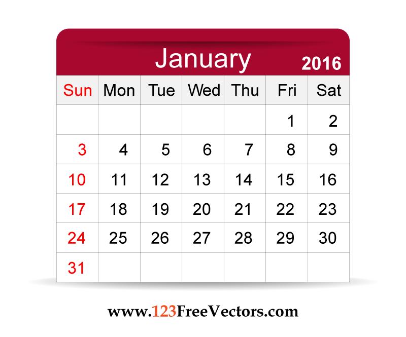 Free Vector 2016 Calendar January Pinterest 2016 Calendar