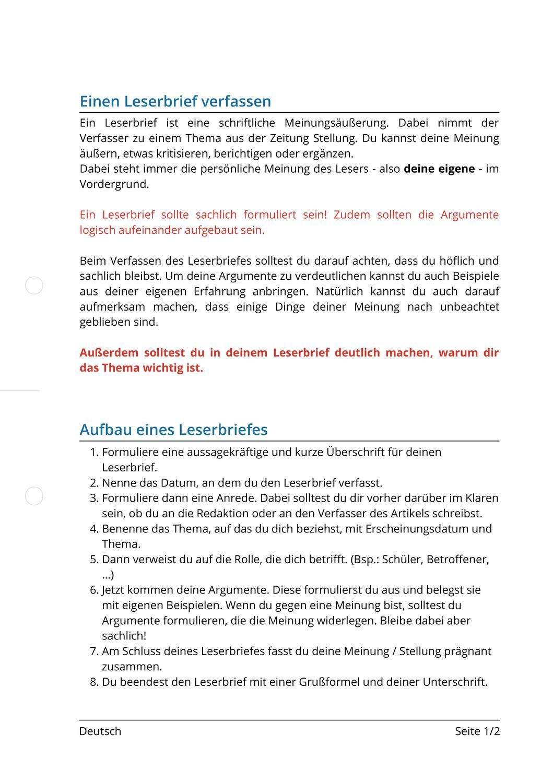 Einen Leserbrief Verfassen Unterrichtsmaterial Im Fach Deutsch Brief Briefe Unterrichtsmaterial