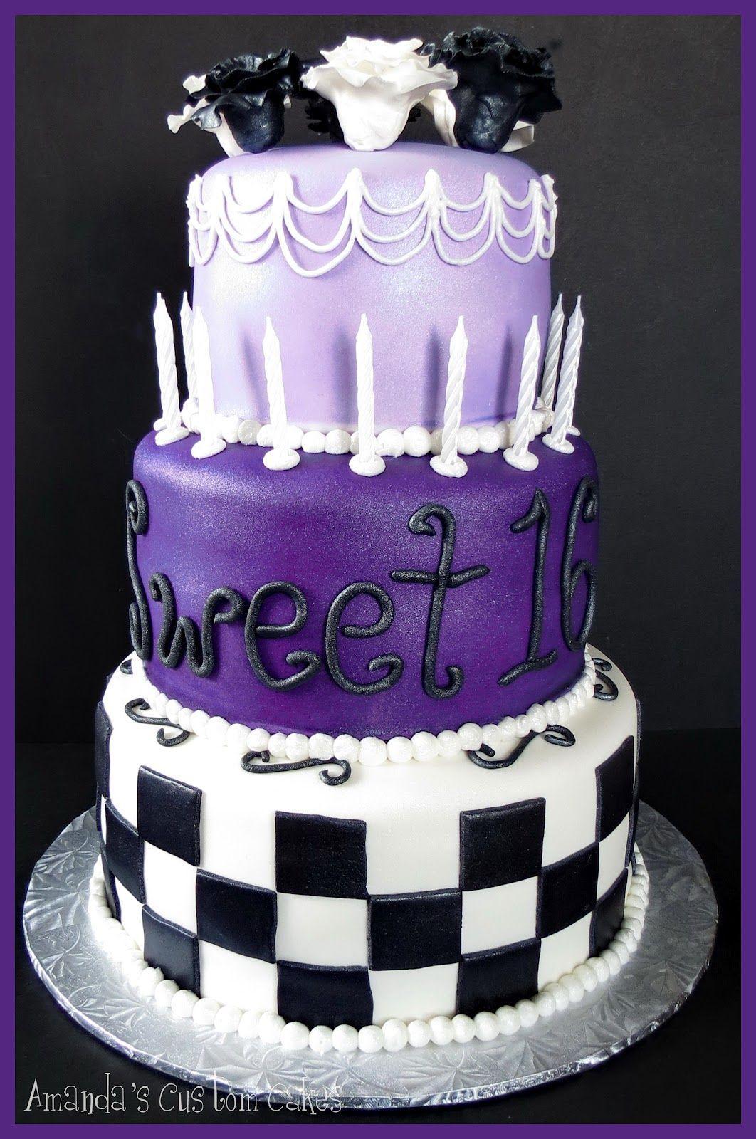 Purple Sweet 16 Birthday Cakes Amandas Custom Cakes Sweet 16
