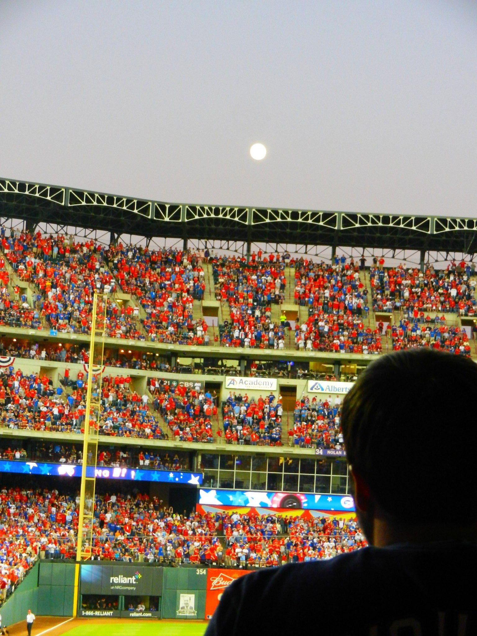 Moon rising over Ballpark in Arlington just before playoff game 2011