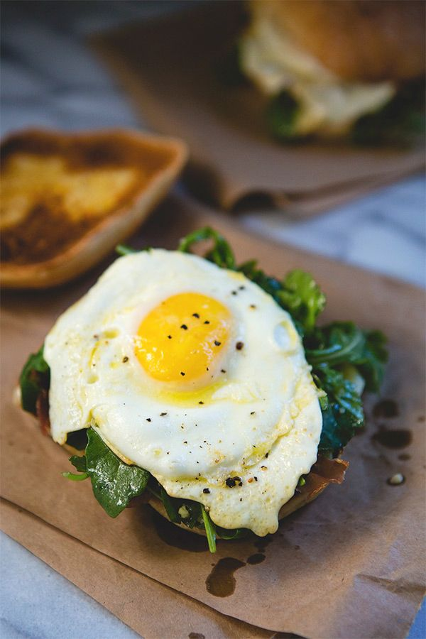Dressed Arugula and Crisped Prosciutto Egg Sandwich