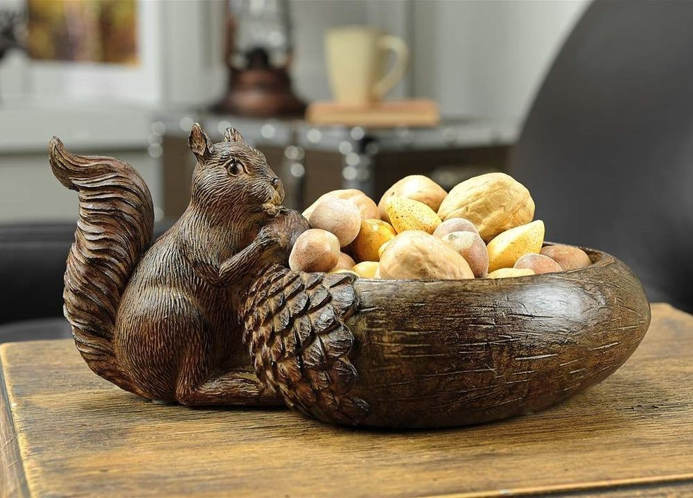 What To Put In Bowls For Decoration Squirrel Decorative Acorn Bowl  Rustic Nature Fall Centerpiece