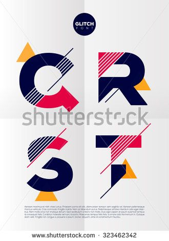 Typographic alphabet in a set. Contains vibrant colors and minimal design on a minimal abstract background - stock vector