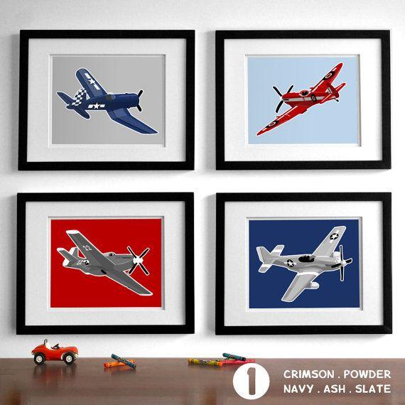 Airplane Nursery Art Vintage Airplanes Childrens Set Of 4 Wall Drawings