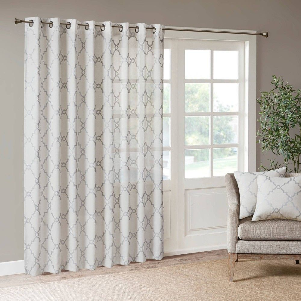 108 X50 Sereno Fretwork Print Light Filtering Curtain Panel Ivory In 2020 Patio Door Curtains Panel Curtains Grommet Curtains