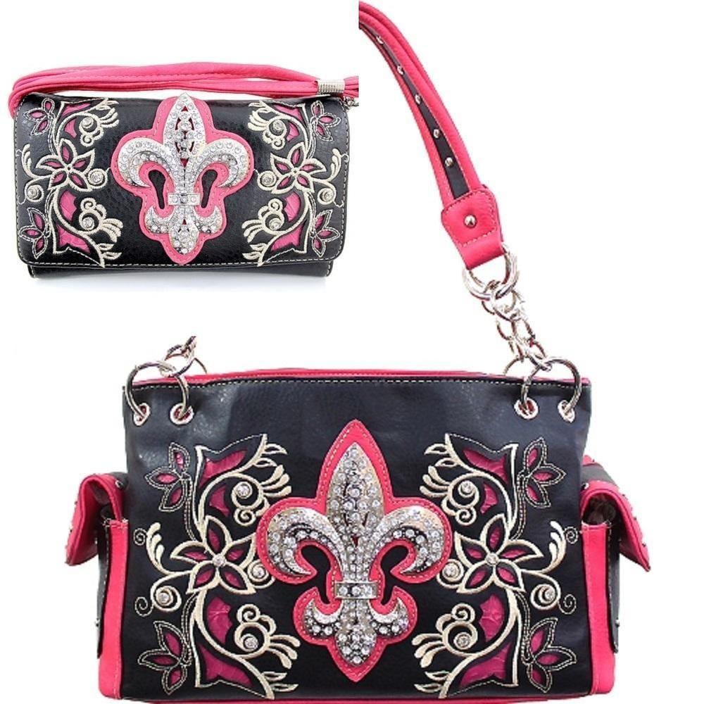 Hot Pink Fleur De Lis Studded Concealed Purse W Matching Wallet