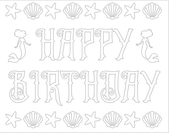 Mermaid Party Happy Birthday Coloring Page   Birthday ...