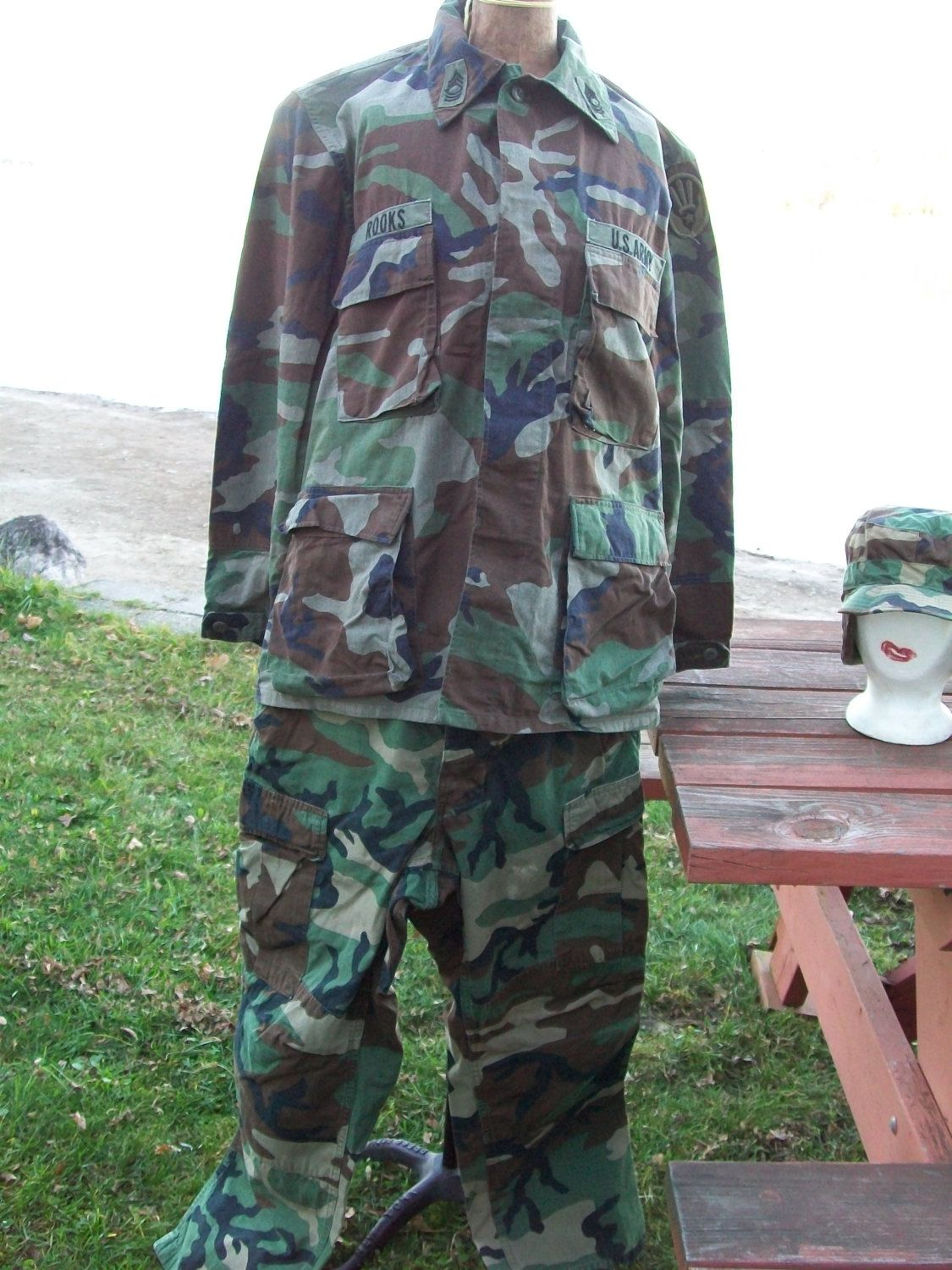 Authentic 1960's Army Fatigue Uniform - Jacket, Pants & Hat - Rip-Stop, Woodland Camouflage Pattern, Camo Outfit by LucysLuckyDeals on Etsy