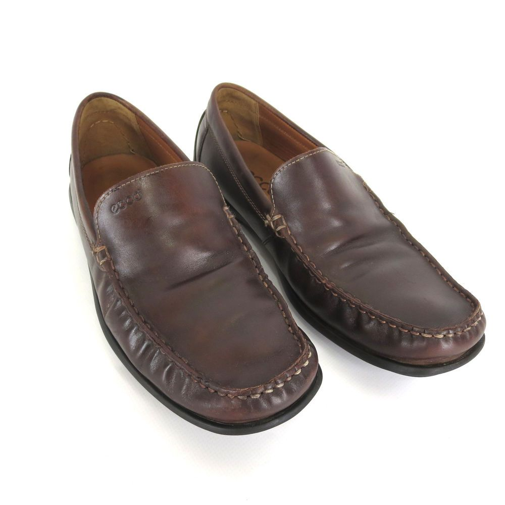 details for half price cheap prices ECCO 43 Extra Wide Venetian Brown Leather Moc Toe Slip On Driving ...