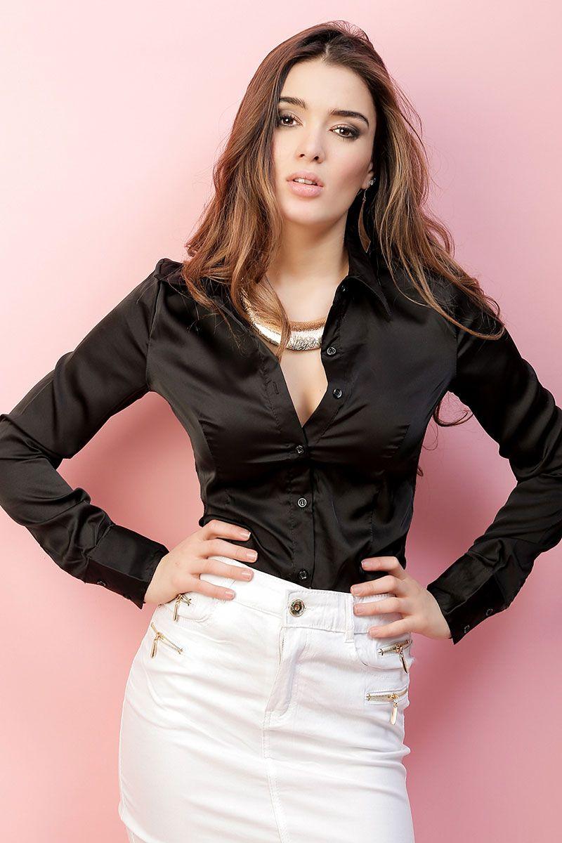 97a93d5cd21fc8 Black satin blouse   Nigrum   Satin blouses, Satin shirt, Blouse