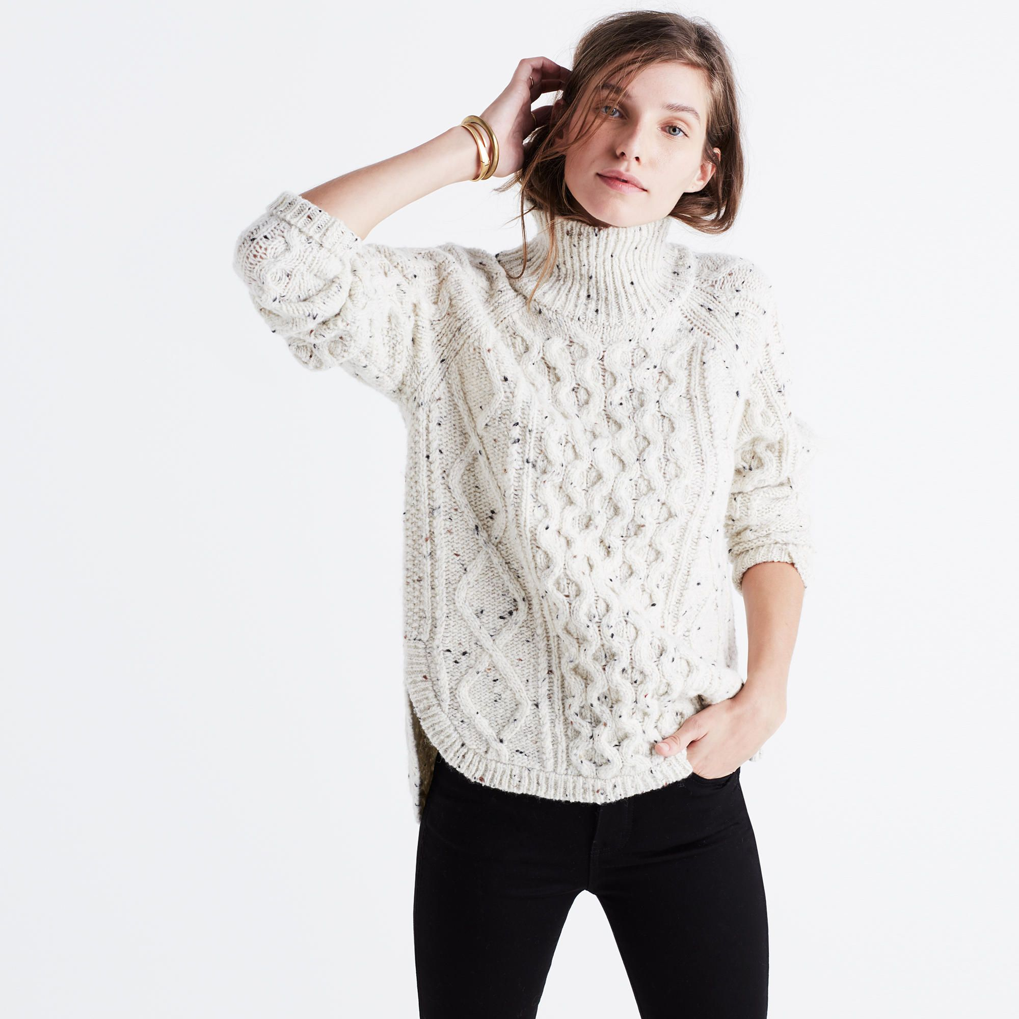 Cableknit Shirttail Turtleneck Sweater | Madewell, Personal style ...