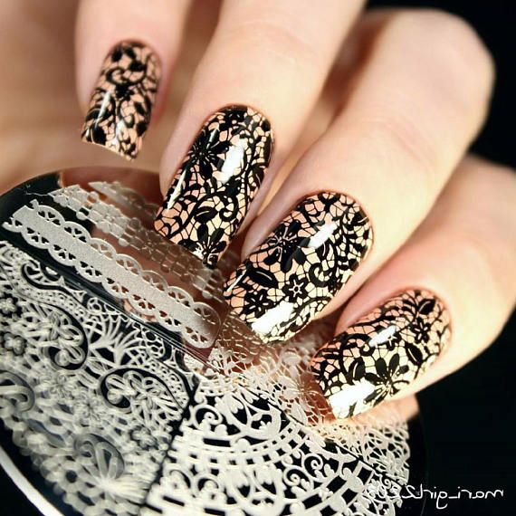 1 Pattern Chic Lace Nail Art Stamping Template Image Stamp Plate