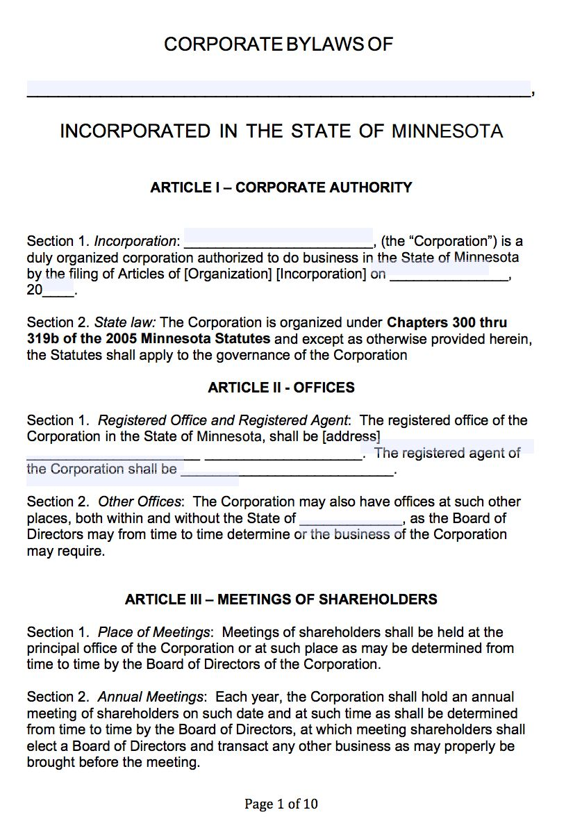 Free Minnesota Corporate Bylaws Template Pdf Word With Regard To Corporate Bylaws Template Professional Templates Business Template Letter Template Word Articles of incorporation template word