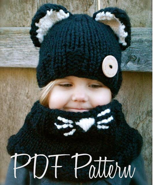 cfd0bfad1cf Fox Ear Scarf Caps Set Winter Hats Children Warm Neck Wrap Cute Wool  Knitted Hats Kids Shawls Crochet Hat