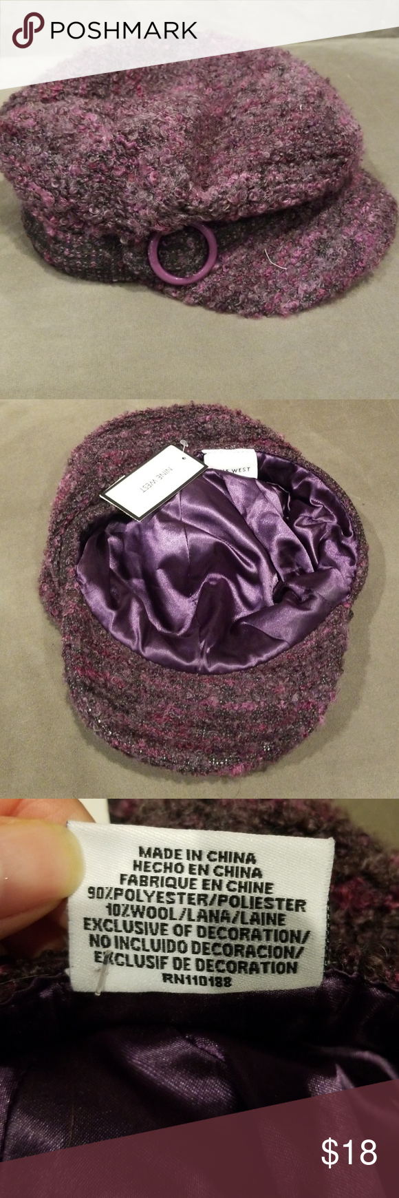 58fdfe02a93 Nine West hat Nine West chic hat with purple and pink hues. Material is 90%  polyester