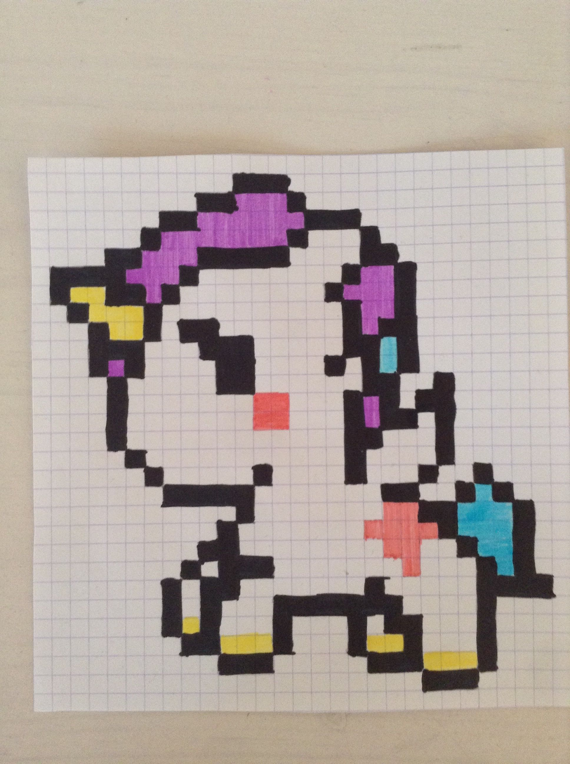 Ma Licorne En Pixel Graphagan Pixel Drawing Graph Paper Art Et