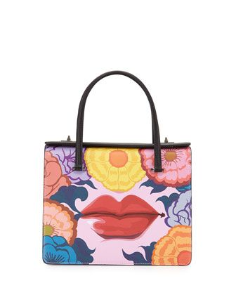 Prada Pink And Multi Colour Saffiano Print Handbag TkKFCB