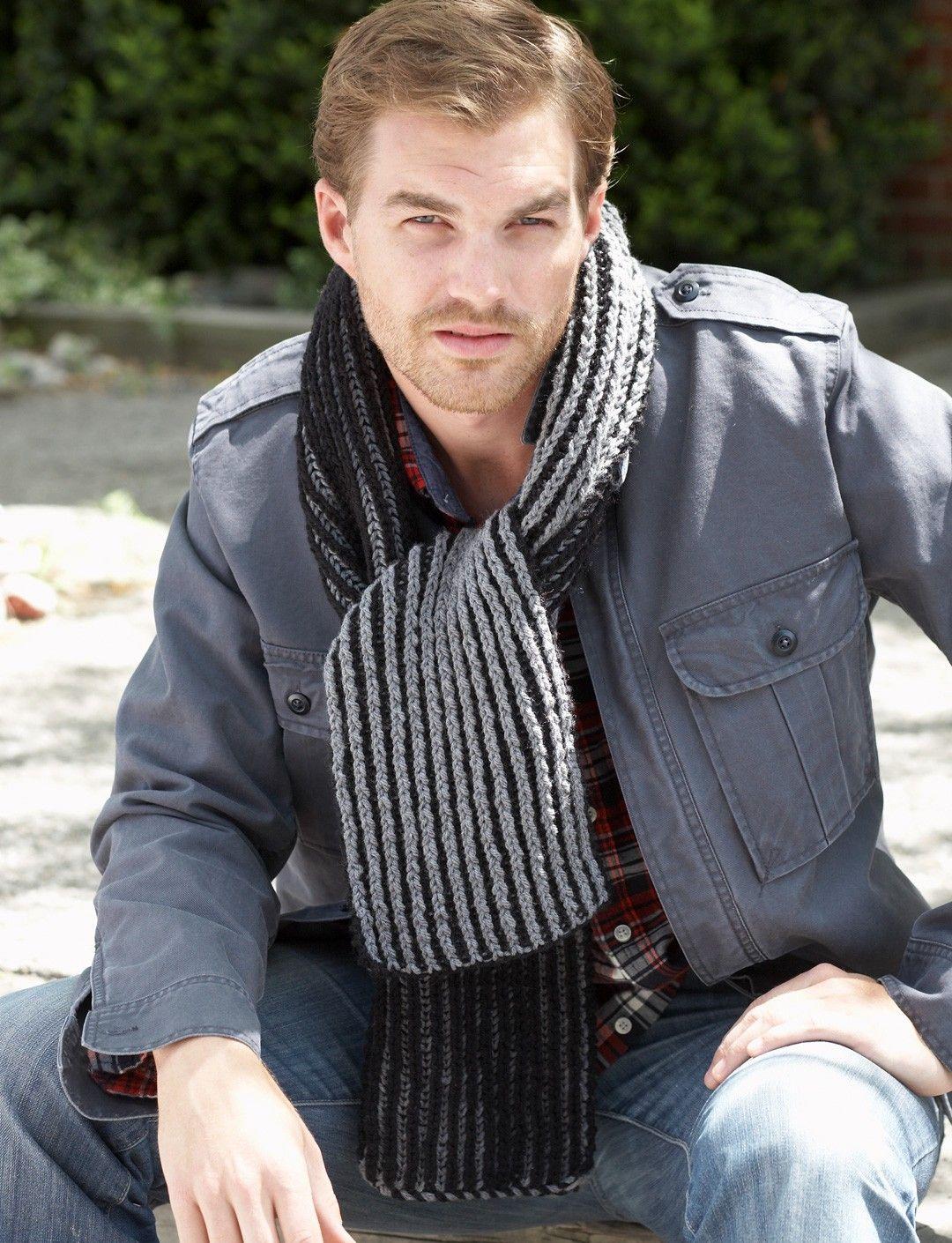 Yarnspirations bernat brioche stitch scarves patterns bundle up in these cozy knit brioche stitch scarves for men and boys shown in bernat super value bankloansurffo Gallery