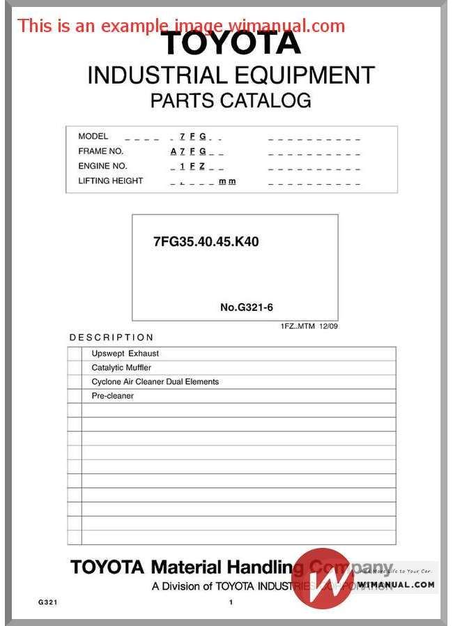 Toyota Forklift 7Fg Parts Catalog pdf download This manual has detailed illustrations as well