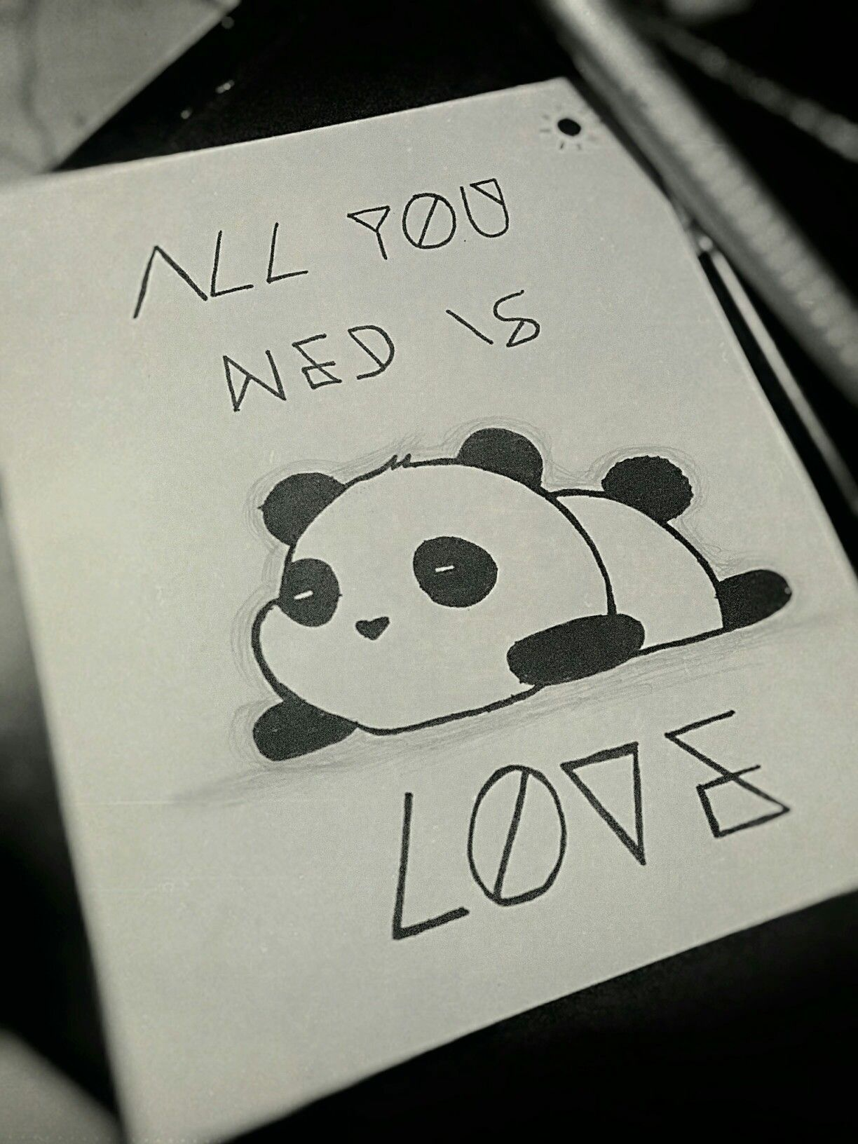 Panda all you need is love quote cute drawing draw