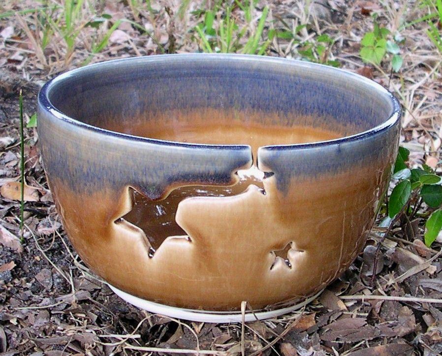 Gold star yarn bowl etsy yarn bowl ceramic yarn bowl
