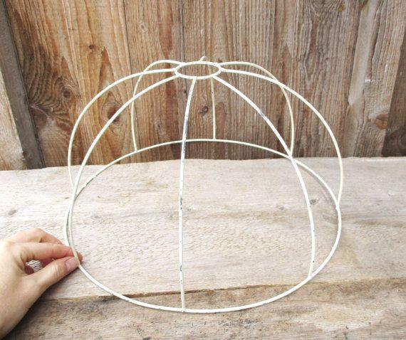 Lamp shade wire frame round metal hanging lampshade lighting lamp shade wire frame round metal hanging by merilinsretro on etsy keyboard keysfo Choice Image