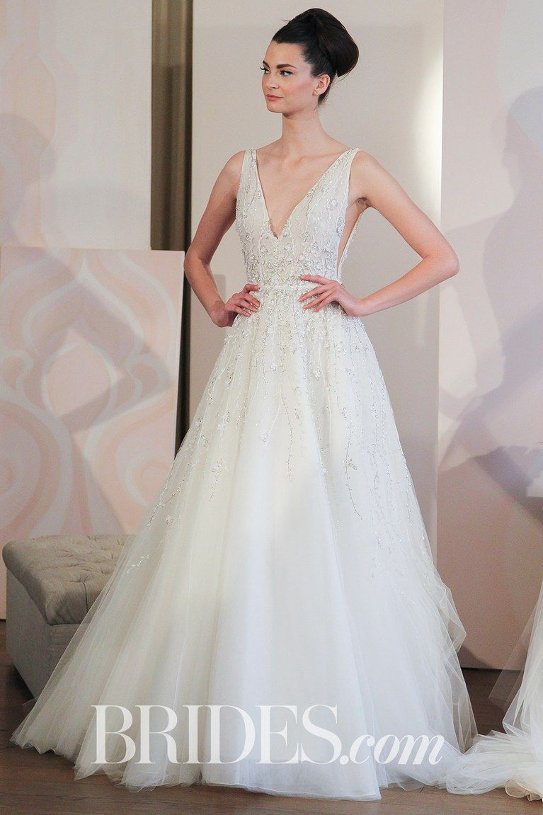 Wedding dress for pear shaped  Anne Barge Ball Gown With Deep VNeckline Spring   Brides