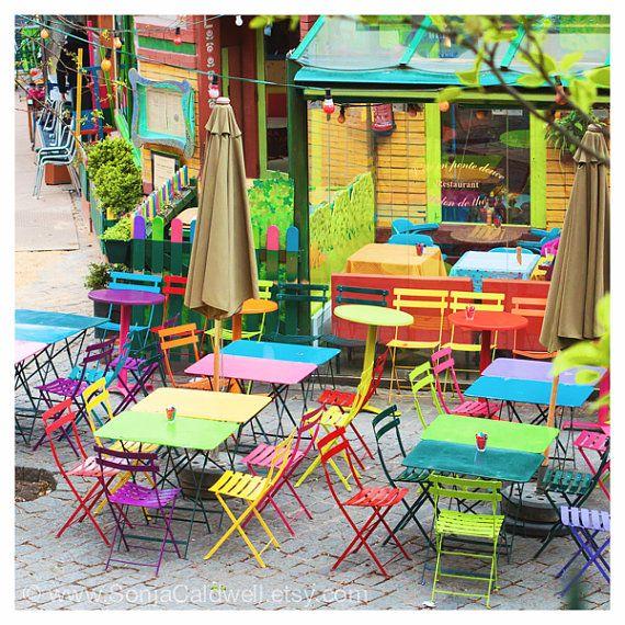 Items similar to Paris Café photo – Rainbow Café (Part II), colorful chairs, outdoor seating, sidewalk, bistro, Springtime 8×8+ Original Fine Art Photography on Etsy