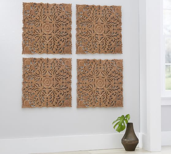 Ornate Carved Wood Panel Wall Art   Set Of 4 | Pottery Barn