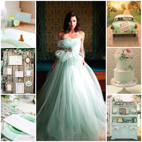 Robe de mariee de couleur verte