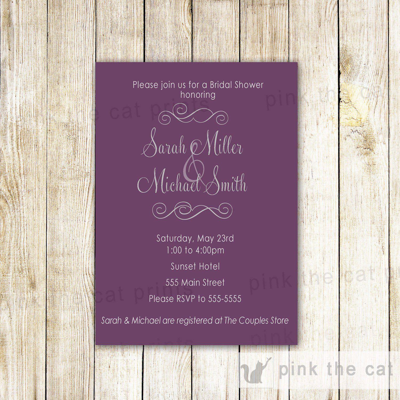 Purple bridal shower invitation card romantic wedding shower sweet purple bridal shower invitation card romantic wedding shower sweet 16 pink the cat filmwisefo Choice Image
