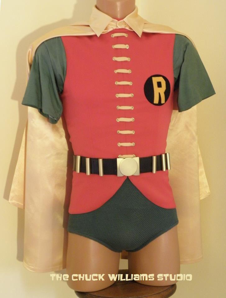 1966 Classic Cosplay Robin Burt Ward Costume Jumpsuit Men Vest Shirt Cape Outfit
