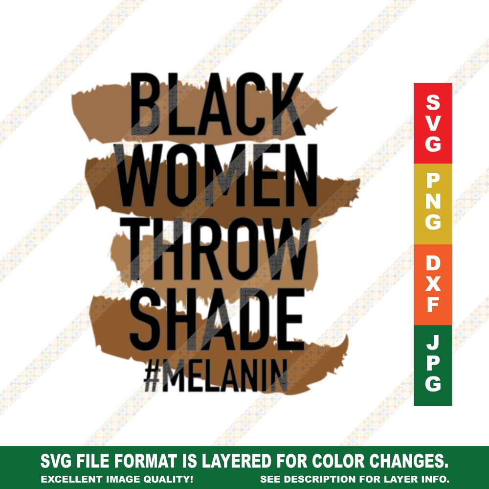 Melanin Black Women Throw Shade Melanin SVG PNG Black