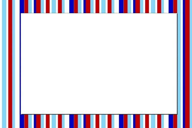 Azul, Vermelho e Branco Listrado - Kit Completo com molduras para convites…