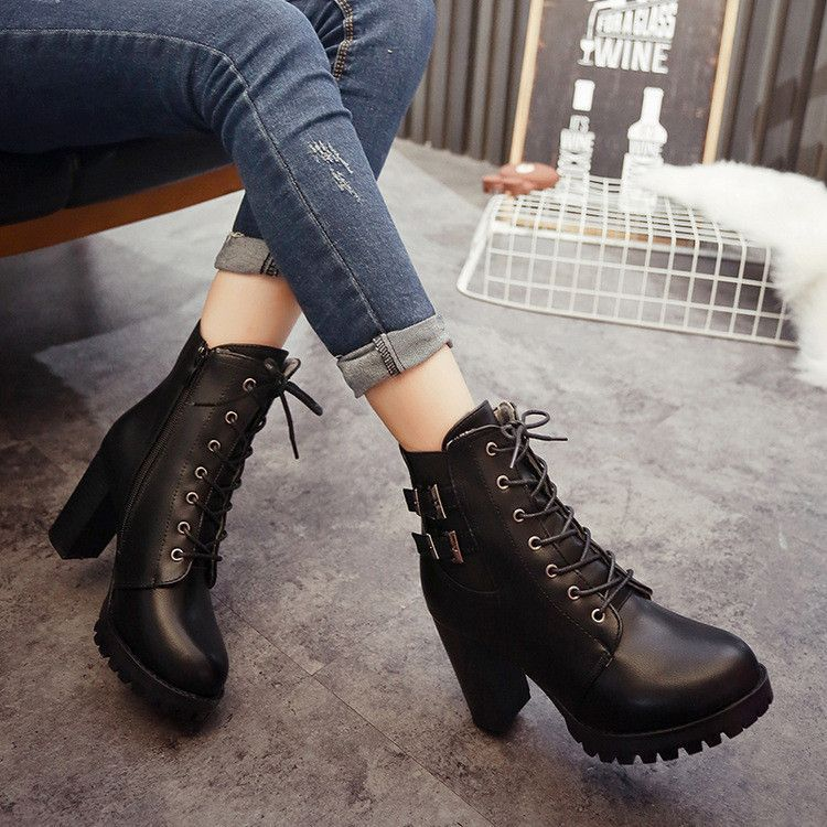 Fashion Winter Womens Personality PU Leather Side Zipper Flat Ankle Martin Boots