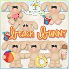 Beach Bunnies 1 - NE Kristi W. Designs Clip Art
