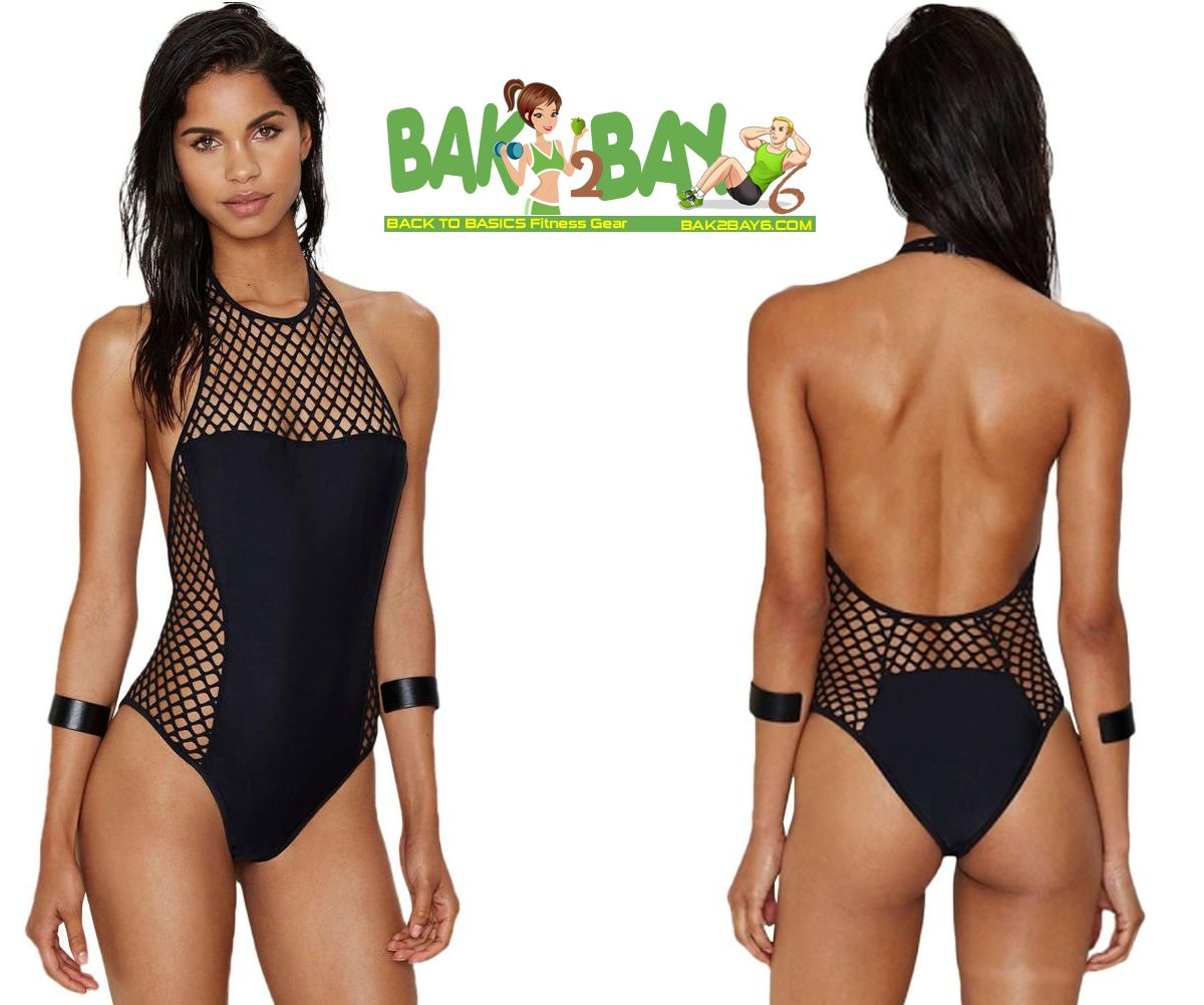 197fef74ad3ad Black Fishnet Monokini Swimsuit with Halter Neck and Open Back with ...