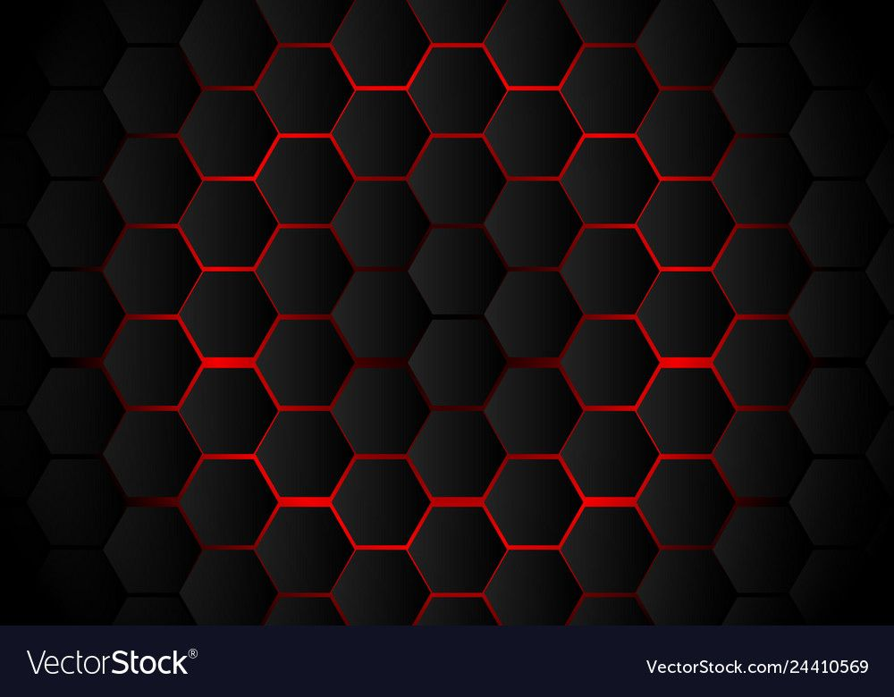 Abstract Black Hexagon Pattern On Red Neon Background Technology Style Honeycomb Vector Illustration Download A Fr In 2021 Hexagon Pattern Hexagon Hexagon Wallpaper