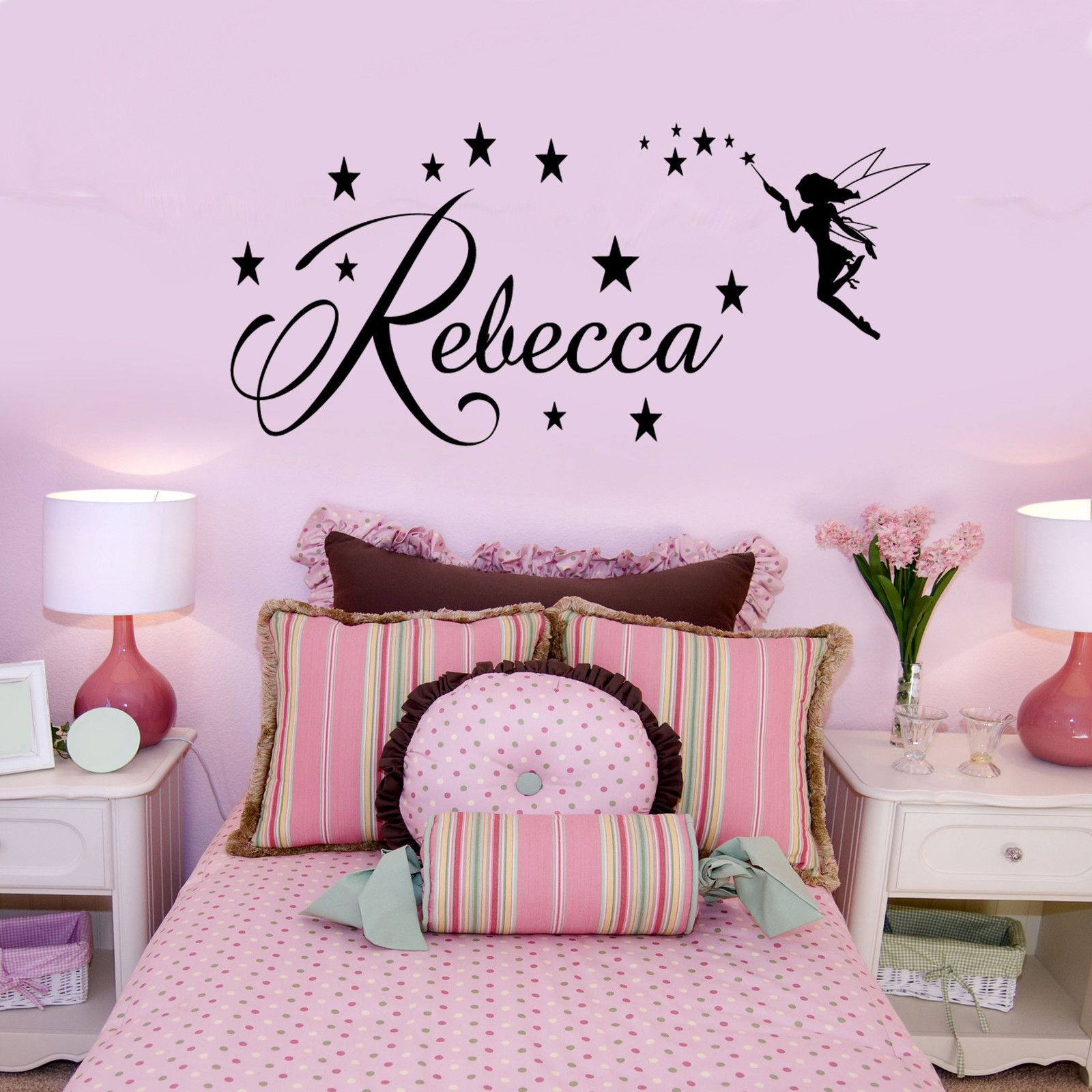 Personalised fairy name wall sticker stars dust kids girls bedroom personalised fairy name wall sticker stars dust kids girls bedroom vinyl decal ebay amipublicfo Choice Image