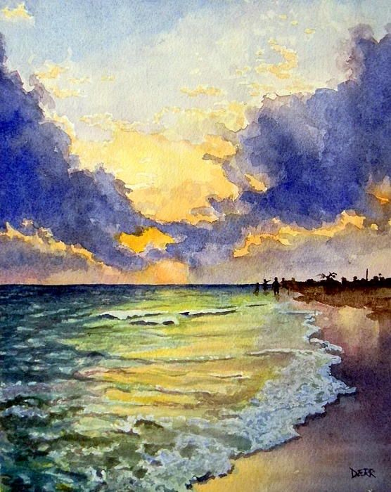 Sanibel Sunset By Todd Derr Amazing Watercolor Sunset Art