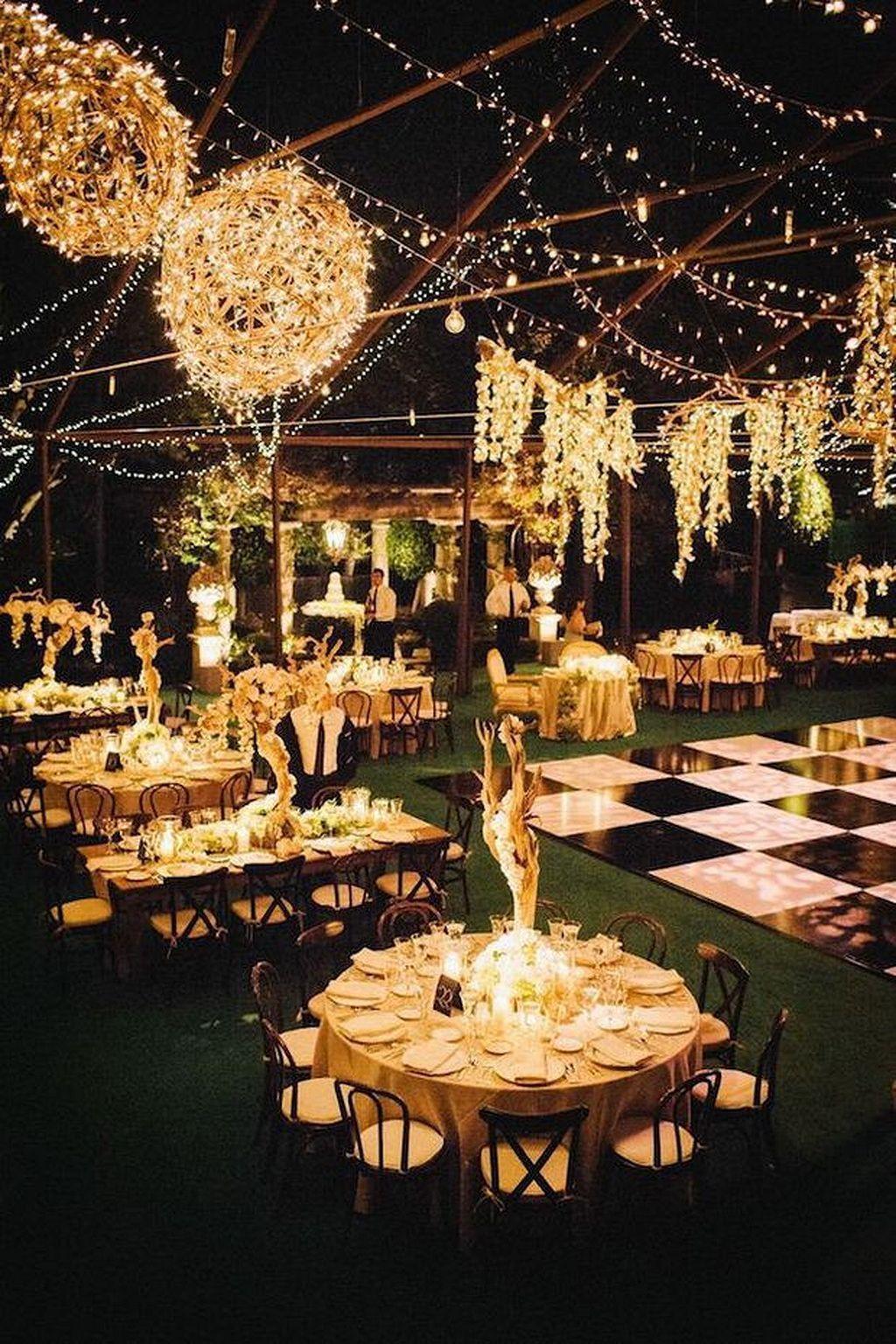 Wedding reception decoration ideas with lights  Cool  Night Wedding Reception Decor Ideas weddmagz