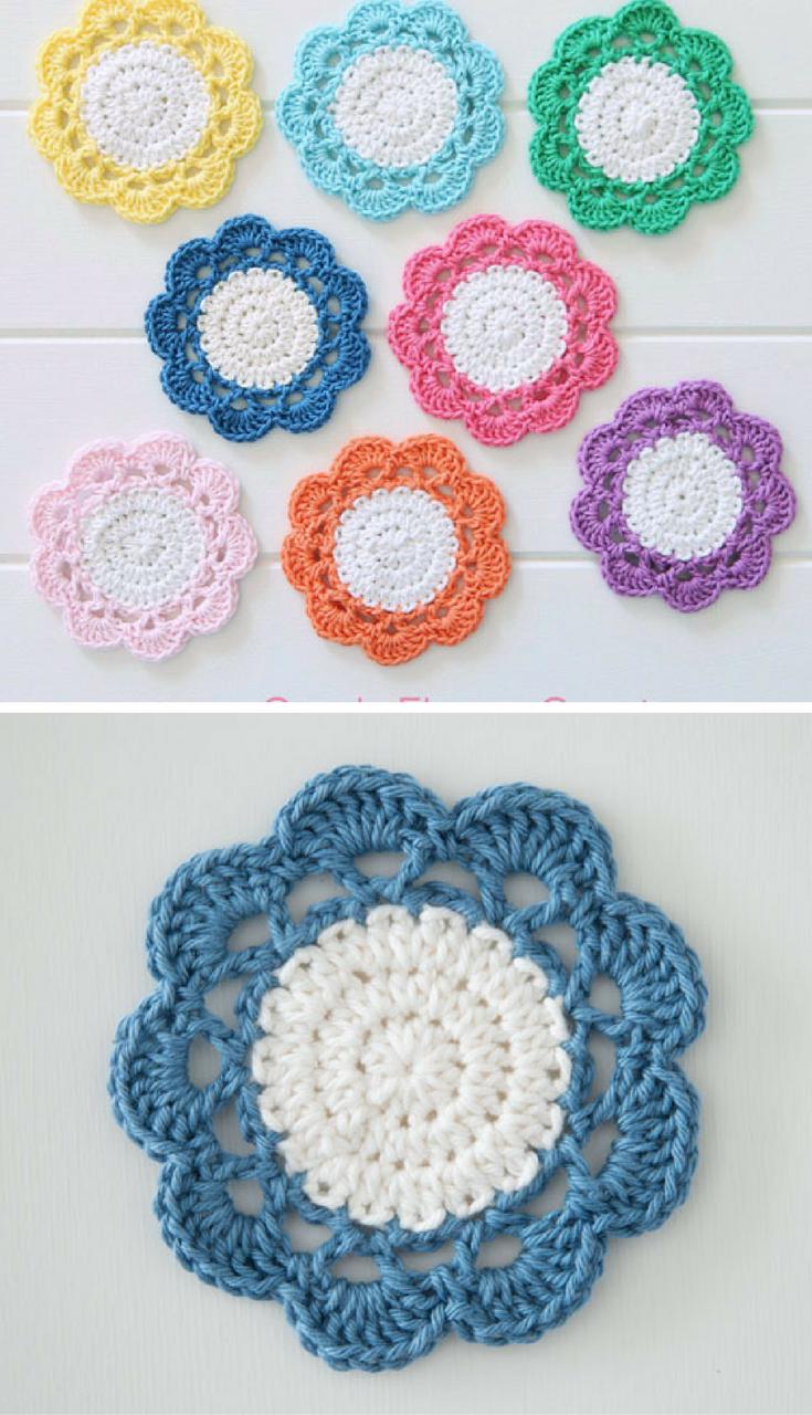 Crochet Candy Flower Coaster Pattern Crochet Crochet Crochet
