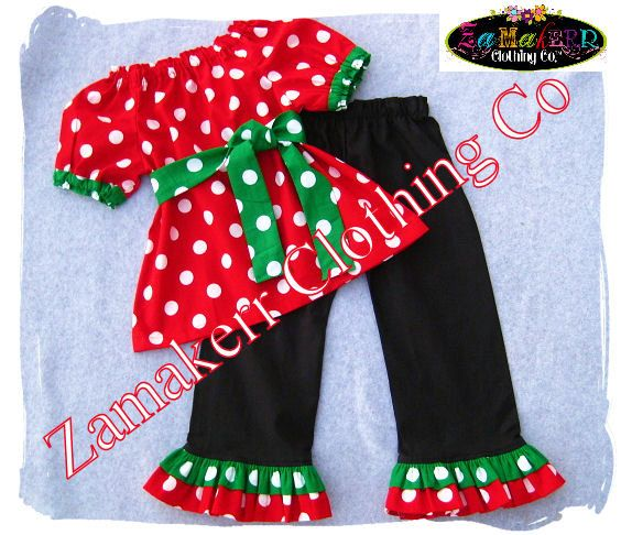 Girl Christmas Outfit Toddler Baby Infant Polka Dot Pant Set - Santa Outfit  Clothes 3 6 9 12 18 24 month size 2T 2 3T 3 4T 4 5T 5 6 7 8 on Etsy, $45.99 - Girl Christmas Outfit Toddler Baby Infant Polka Dot Pant Set - Santa