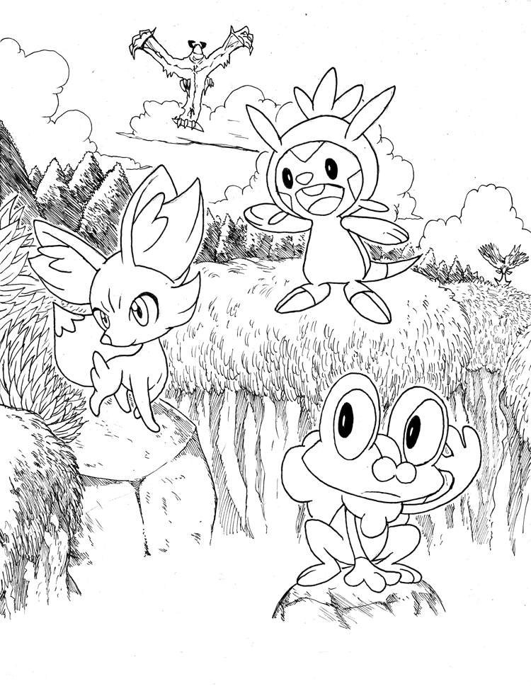 starter Pokemon Coloring Pages | Pokemon X and Y: Starters ...