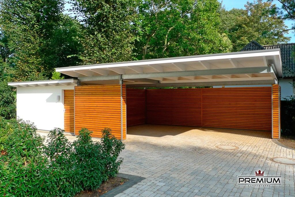 Doppelcarport carport bauhaus mit abstellraum aus hpl trespa for Geschlossener carport