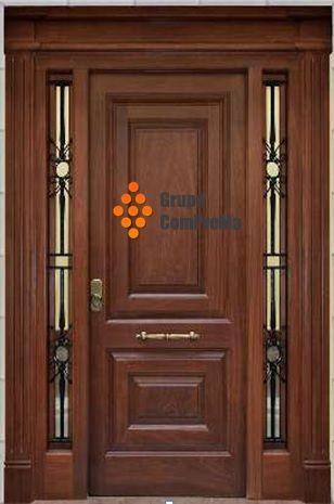 presupuesto puertas entrada en nogal dos fijos y una hoja elegante - puertas de entrada