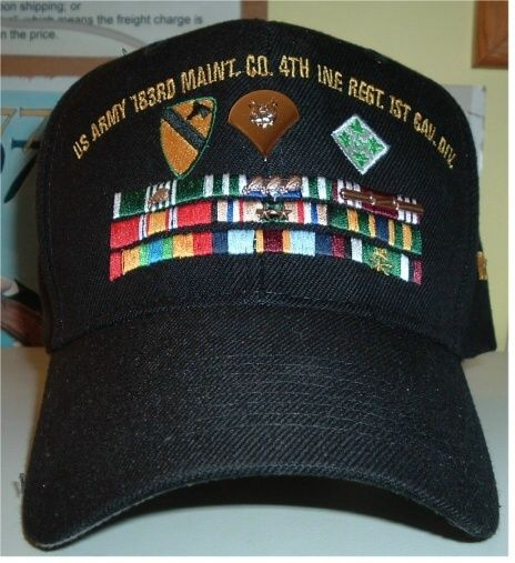 7d07e8bf9 US ARMY BALL CAP w/3 ROWS OF RIBBONS EMBROIDERED ON THE HAT w/UNIFORM  RIBBON DEVICES and SPEC 4 INSIGNIA The ribbon attachments and Spec 4  insignia are ...
