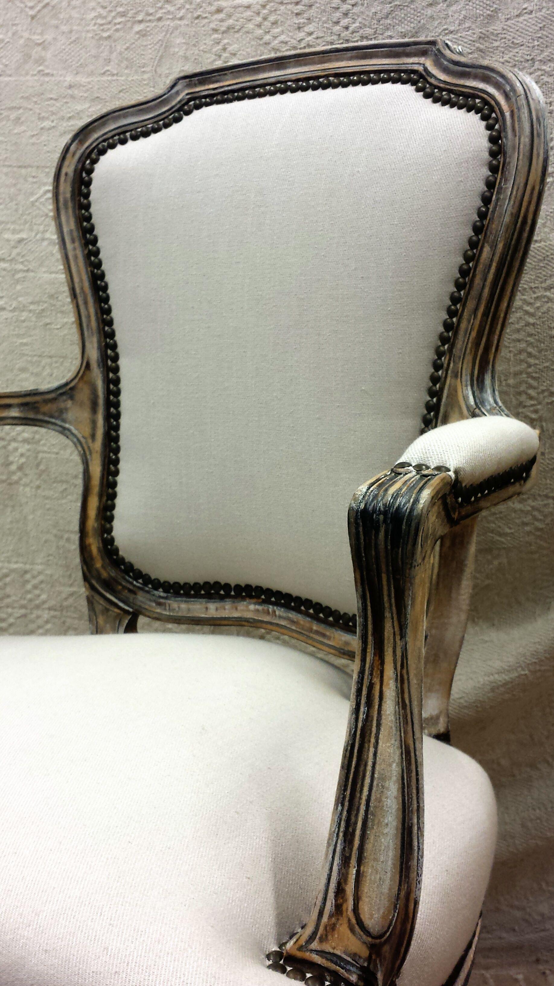 Sill n de pata curva decapado como madera envejecida - Sillon estilo provenzal ...